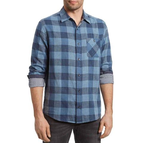 Flag & Anthem Mens Delphi Long Sleeve Plaid Shirt X-Large Blue/Navy
