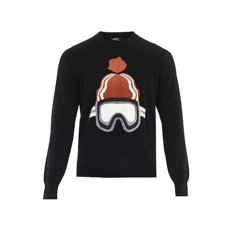 Z Zegna Men's Black Ski Print Cashmere Crew Neck Sweater Jumper RTL$545
