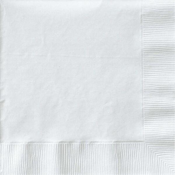 """Luncheon Napkins 6.5""""X6.5"""" 50/Pkg-White - White"""