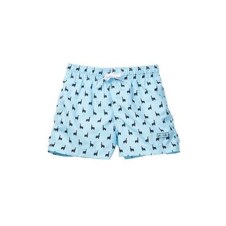 Azul Boys Light Blue Lama Print Elastic Band Drawstring Swim Shorts