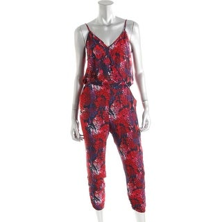 Aqua Womens Printed Sleeveless Jumpsuit - XS
