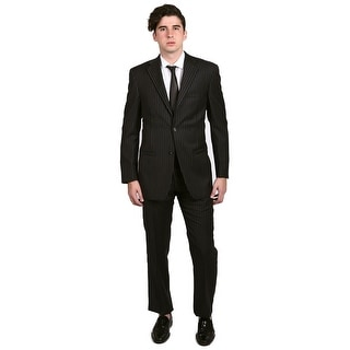 Versace Men's Pinstripe Two-Piece Wool Suit Black/White