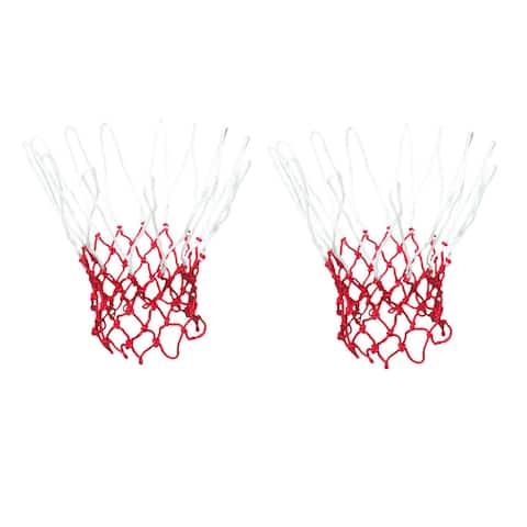 2 Pcs 4mm Red White Nylon Rope 12 Loops Knotted Basketball Net Netting