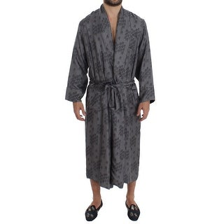 Dolce & Gabbana Gray Blue Chair Print SILK Robe Coat Nightgown - XS