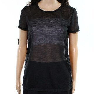 James Perse NEW Black Womens Size XL Sheer Stretch-Knit Tee T-Shirt