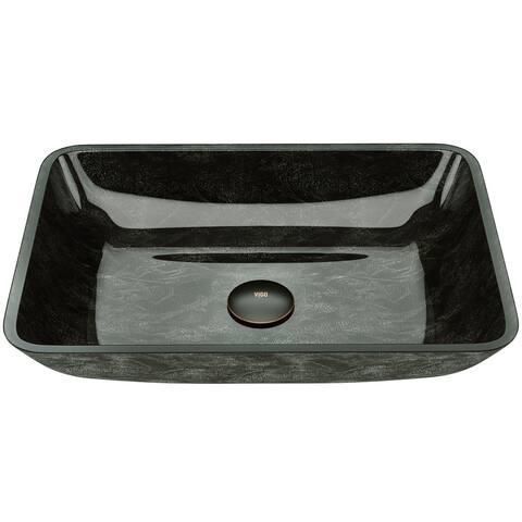 VIGO Grey Onyx Glass Rectangular Vessel Bathroom Sink