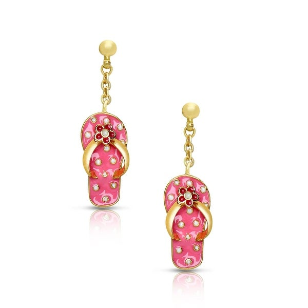 Jewelry for Girls 3 Hearts Dangle Earrings By Lily Nily Gold Plated with Hand Painted Enamel