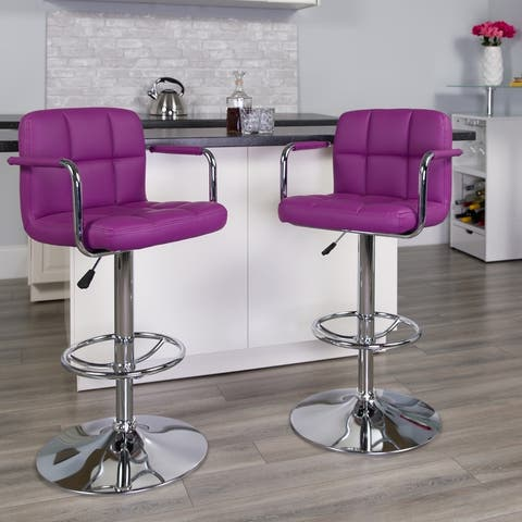 2 Pack Quilted Vinyl Adjustable Height Barstool with Arms and Chrome Base