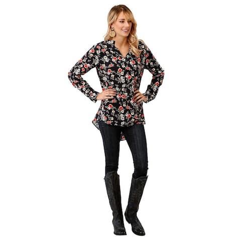 Roper Western Shirt Womens L/S Tunic Floral Print - Black