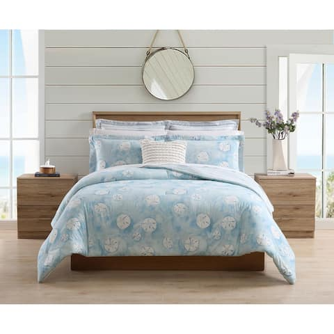 Stone Cottage Sand Dollar Cotton Blue 6 Piece Comforter Bonus Set