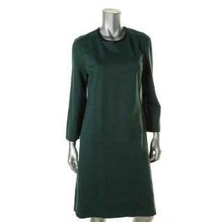 Anne Klein Womens Bell Sleeve Faux Leather Trim Wear to Work Dress