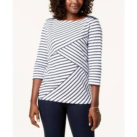 Karen Scott Women's Blue White Size XL Stripe Printed 3/4 Sleeve Blouse