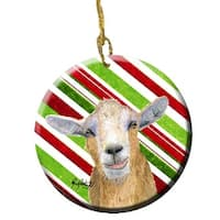 Goat Red Snowflakes Holiday Christmas Ceramic Ornament