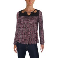 Jessica Simpson Womens FIFI Casual Top Crochet Trim Cut-Out