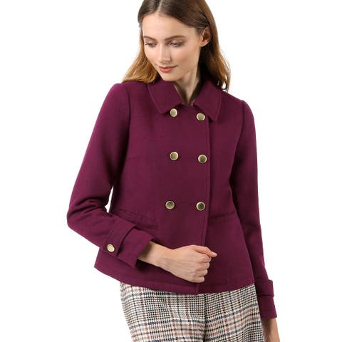 Unique Bargains Women's Double Breasted Winter Pea Coat - Burgundy