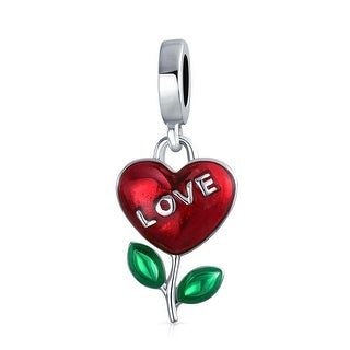 Bling Jewelry Growing Love Heart Shaped Flower Bead Charm .925 Sterling Silver
