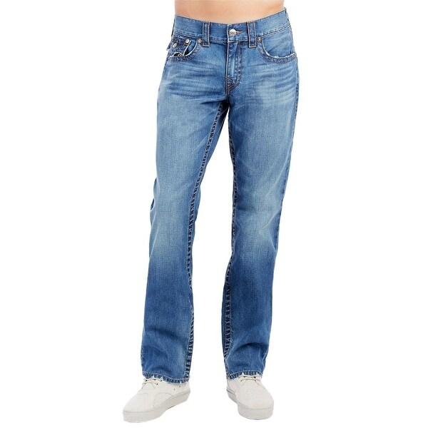 c5c96f47 True Religion Men's Straight Flap Camo Horseshoe Jeans 38 Blue Atlas