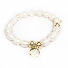 Freshwater Pearl Om Charm stretch bracelet 14k over Sterling Silver