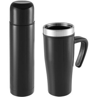 Sharper Image 1020023 Thermal Mug/Flask Set, Black