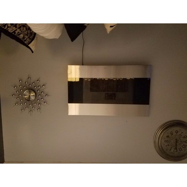 36-inch Stainless Steel Electric Fireplace with Wall Mount and ...