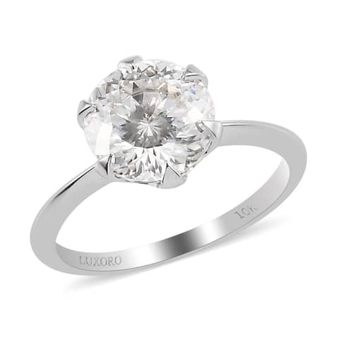 Shop LC White Gold Moissanite Solitaire Ring Size 7 Ct 3.6