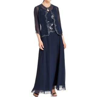JKara Womens Dress With Jacket Chiffon Embellished - 6