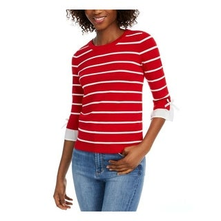 Link to MAISON JULES Womens Red Striped 3/4 Sleeve Jewel Neck Sweater  Size M Similar Items in Juniors' Clothing
