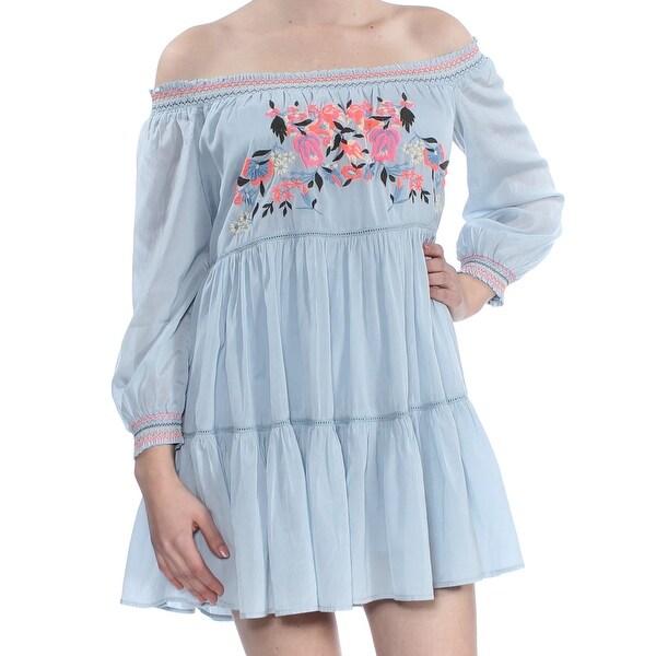 1fe0380cf3af Shop FREE PEOPLE Womens Light Blue Floral Embroidered Off The Shoulder Long  Sleeve Off Shoulder Mini Shift Dress Size: L - Free Shipping Today -  Overstock - ...