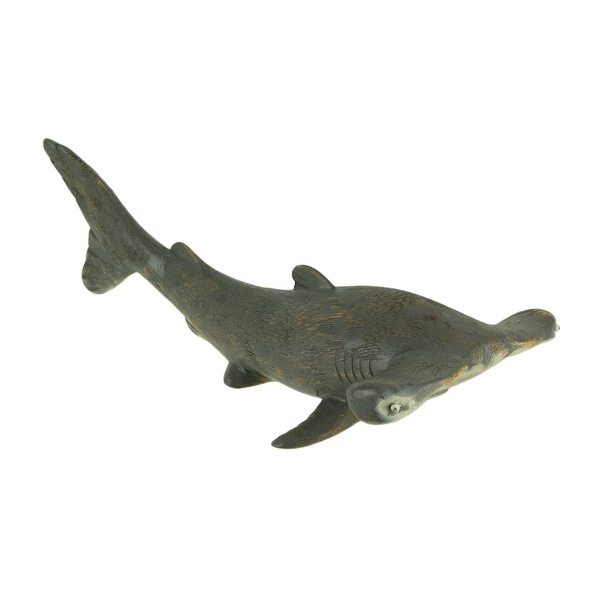 Distressed Grey Hand Carved Bamboo Root Hammerhead Statue Coastal Decor - 6.25 X 16 X 7.75 inches