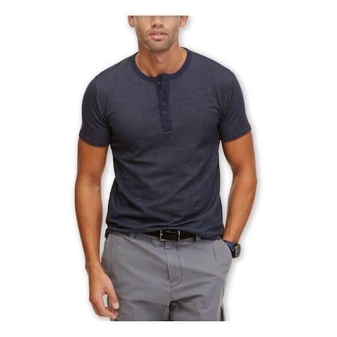 Nautica Mens Slim Fit Henley Shirt, Blue, Small