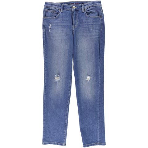 Style&Co. Womens Mid-Rise Distressed Boyfriend Fit Jeans - 4 Regular