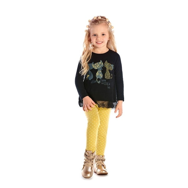 Toddler Girl Outfit Long Sleeve T-Shirt and Leggings Set Pulla Bulla 1-3 Years