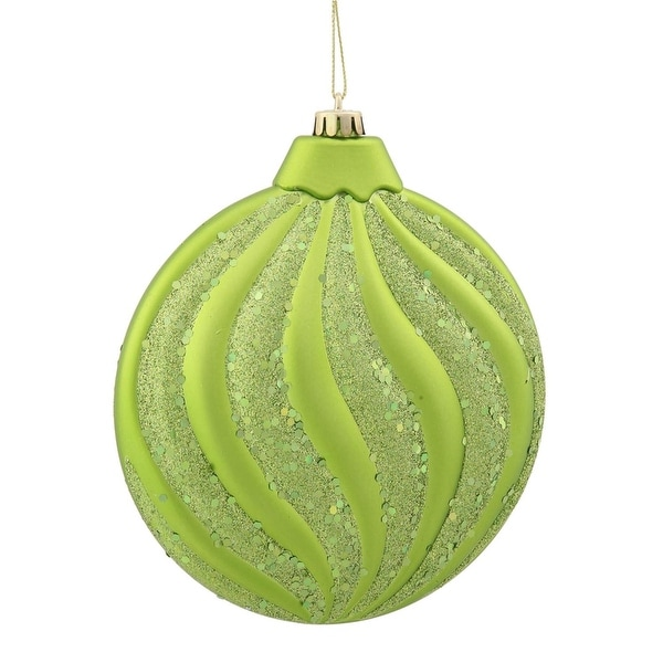"Green Kiwi Glitter Swirl Shatterproof Christmas Disc Ornament 6"" (150mm)"