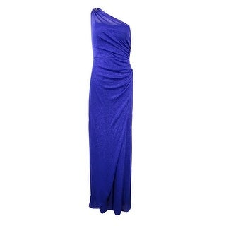 Onyx Nite Women's Beaded One-Shoulder Glittered Gown - ROYAL - 6