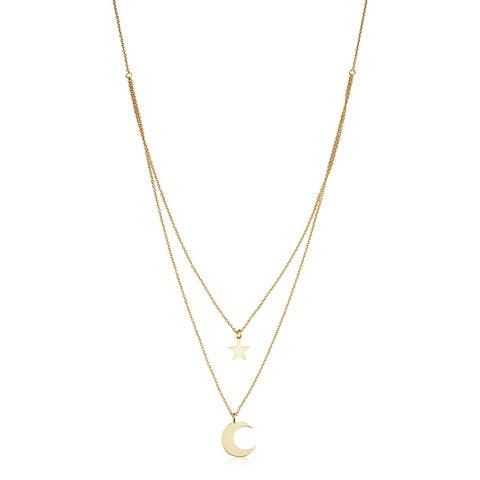 14k Yellow Gold Star and Moon Layered Adjustable Length Necklace (adjusts to 17 or 18 inches)