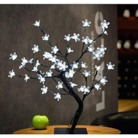 LED Crystal Cherry Blossom Tree Light Night Lights Table Lamp Christmas Fairy Wedding Decoration Lighting White - Medium