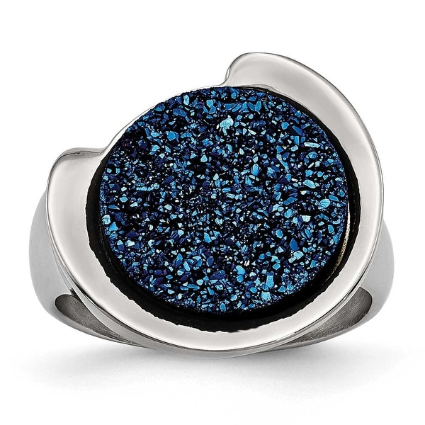 Chisel Stainless Steel Polished with Blue Druzy Stone Ring