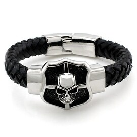 Stainless Steel Skull Shield Leather Rope ID Bracelet - 8 inches