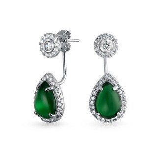 Bling Jewelry Synthetic Green Onyx Teardrop Back and Front Earrings Rhodium Plated Brass