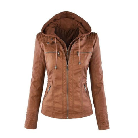 Female Autumn Zipper Leather Large Size Jacket