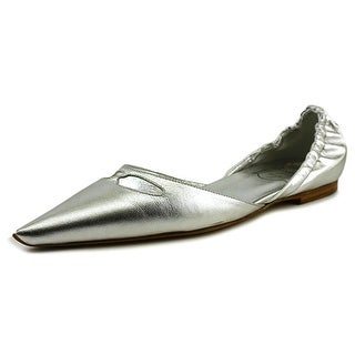 Roger Vivier Torpedo T.05 Women Pointed Toe Leather Silver Flats