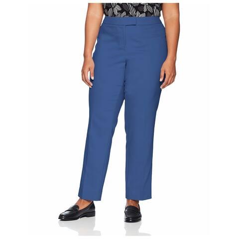 ANNE KLEIN Womens Blue Straight leg Pants Plus Size: 22W