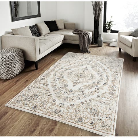 Porch & Den Ridder Ornamental Floral Medallion Plush Area Rug