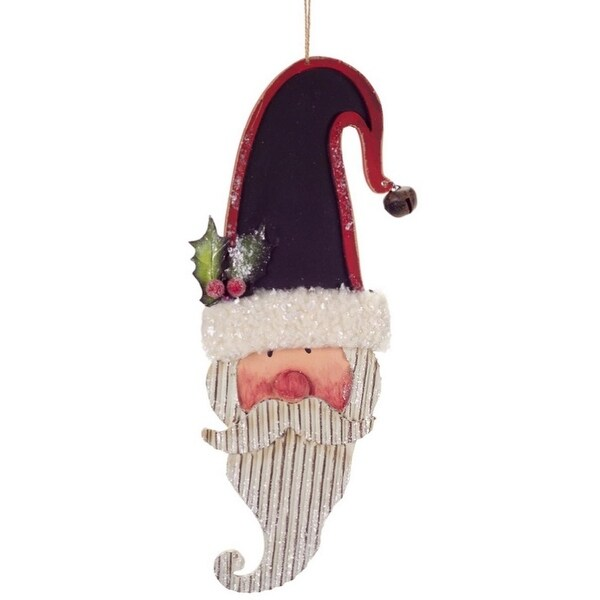 """13"""" Vintage Inspired Santa Claus with Chalkboad Hat Hanging Christmas Ornament - WHITE"""
