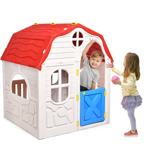 Costway Kids Cottage Playhouse Foldable Plastic Play House Indoor - White, Red & Blue