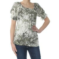 SANCTUARY Womens Green Printed Short Sleeve Peasant Top  Size: XS