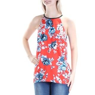 KENSIE $59 Womens New 1196 Red Blue Floral Jewel Neck Sleeveless Hi-Lo Top S B+B