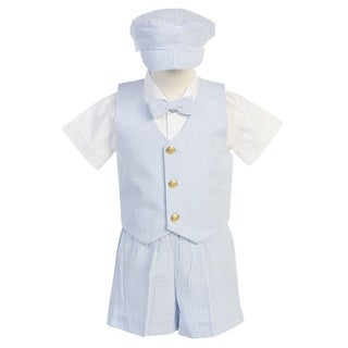Boys Blue Vest Shorts Easter Ring Bearer Formal Suit 12M-4T