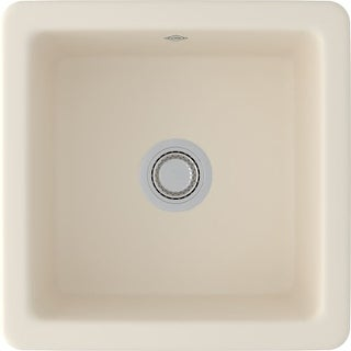 "Rohl RC1818 Shaws Classic 18-1/8"" Single Basin Square Fireclay Kitchen or Bar Sink for Drop-In or Undermount Installation"