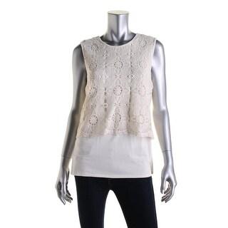 Vince Camuto Womens Crochet Overlay Scalloped Hem Pullover Top - XL